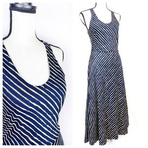 Banana Republic Racerback Navy Striped Maxi Dress